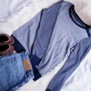 Nautica gray/navy 100% cotton striped sweater